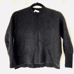 Everlane Black Wool Cropped Boxy Sweater
